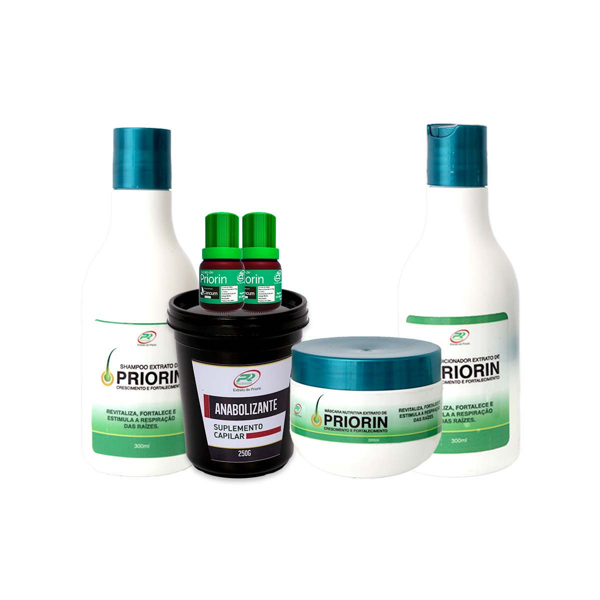 2 Tônicos Capilares (cresce cabelo) + Shampoo + Condicionador + Máscara + Anabolizante 250g