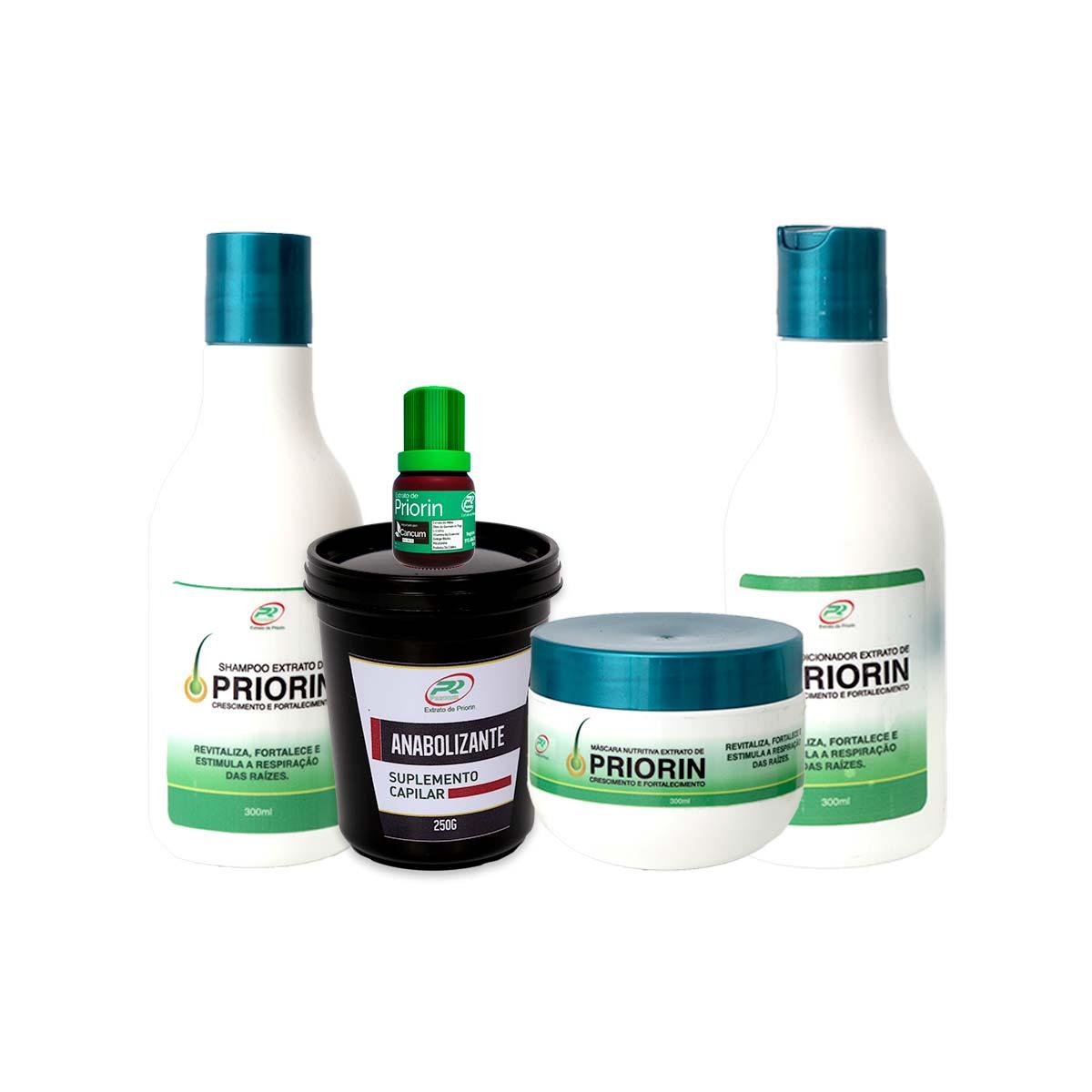 1 Tônico Capilar (cresce cabelo) + Shampoo e Condicionador + Máscara Nutritiva + Anabolizante 250g