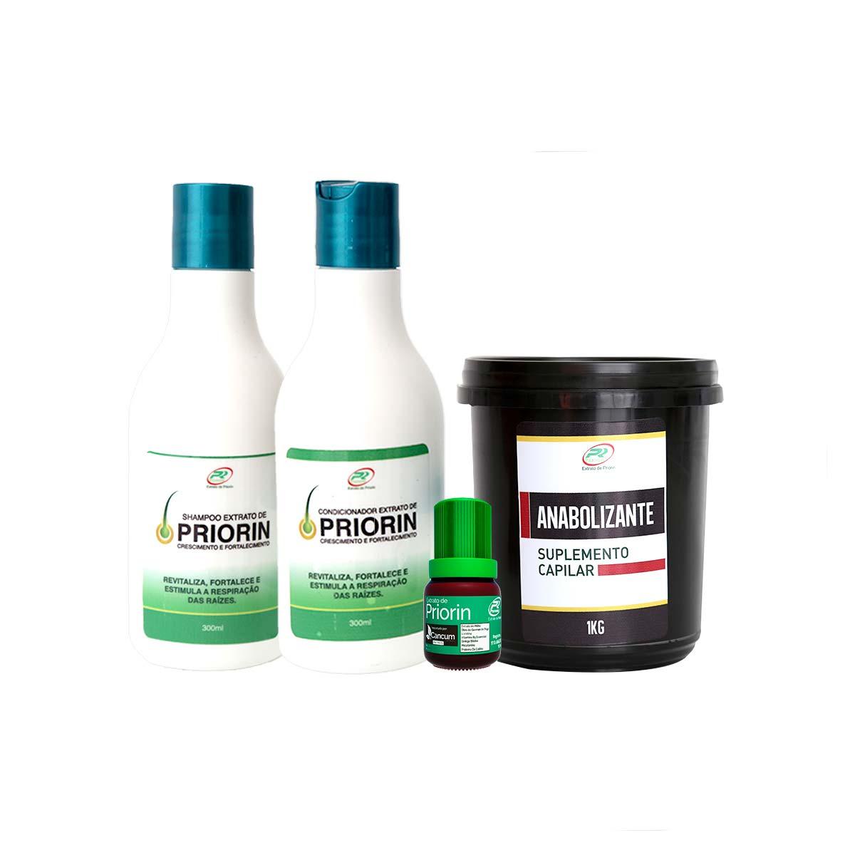 Tônico Capilar (cresce cabelo) + Shampoo e Condicionador + Anabolizante 1Kg  - Extrato de Priorin