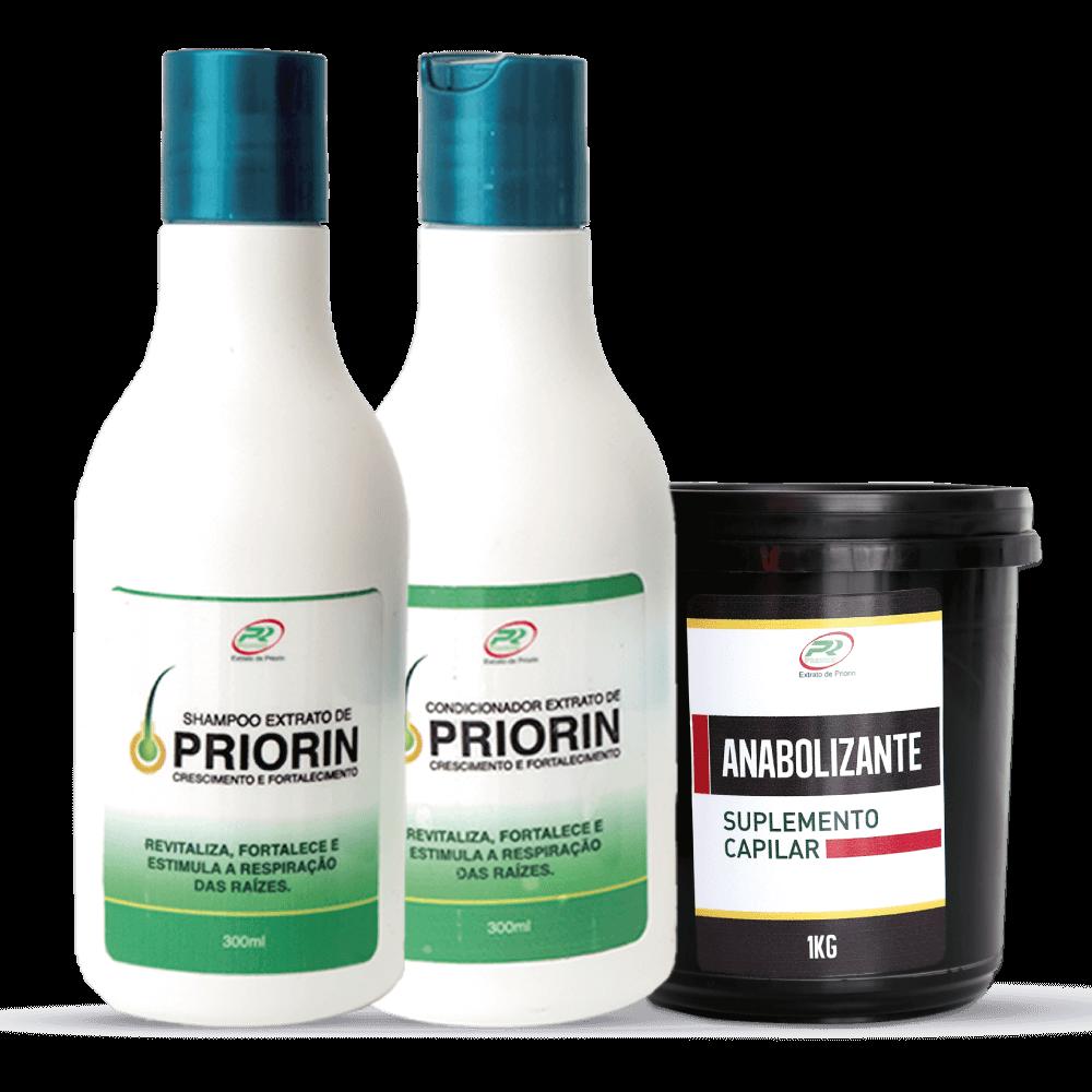 Shampoo e Condicionador Cresce Cabelo Extrato de Priorin + Anabolizante Capilar 1Kg
