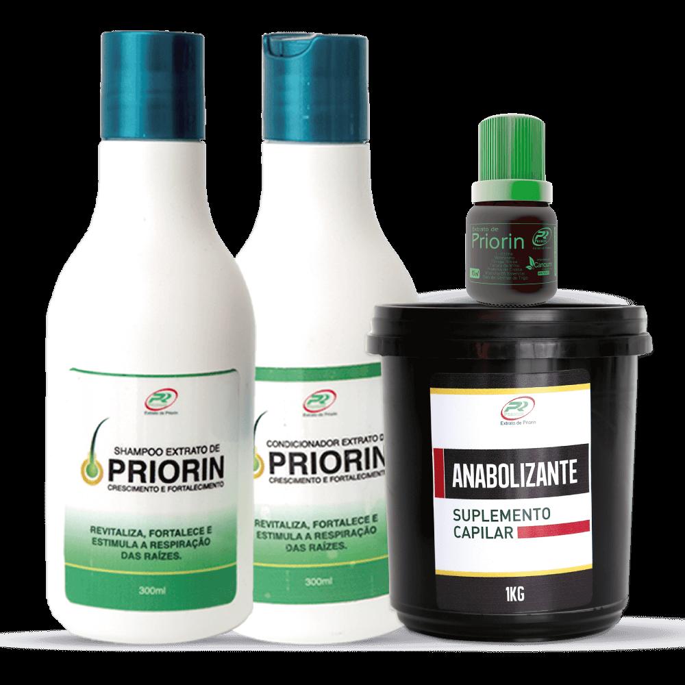 Tônico Cresce Cabelo Extrato de Priorin + Shampoo e Condicionador + Anabolizante 1Kg