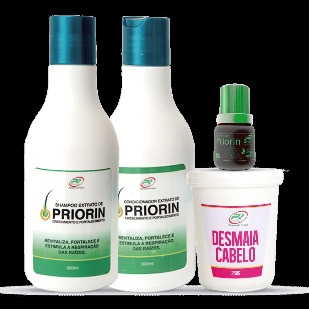 Tônico Cresce Cabelo Extrato de Priorin + Shampoo e Condicionador Cresce Cabelo Extrato de Priorin + Desmaia Cabelo