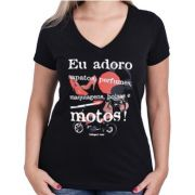 Camiseta Babylook Kallegari Eu Adoro Moto, Batom e Sapato
