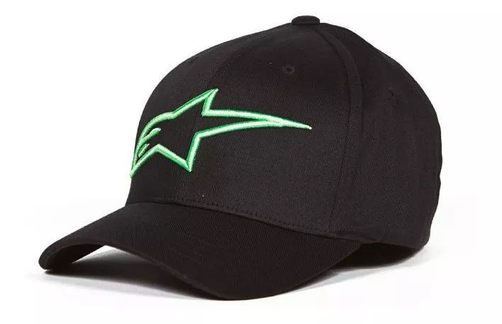 Bone Alpinestars Logo Astar Asc Flexfit Preto Verde  - Ditesta & Daihead - Moto Store