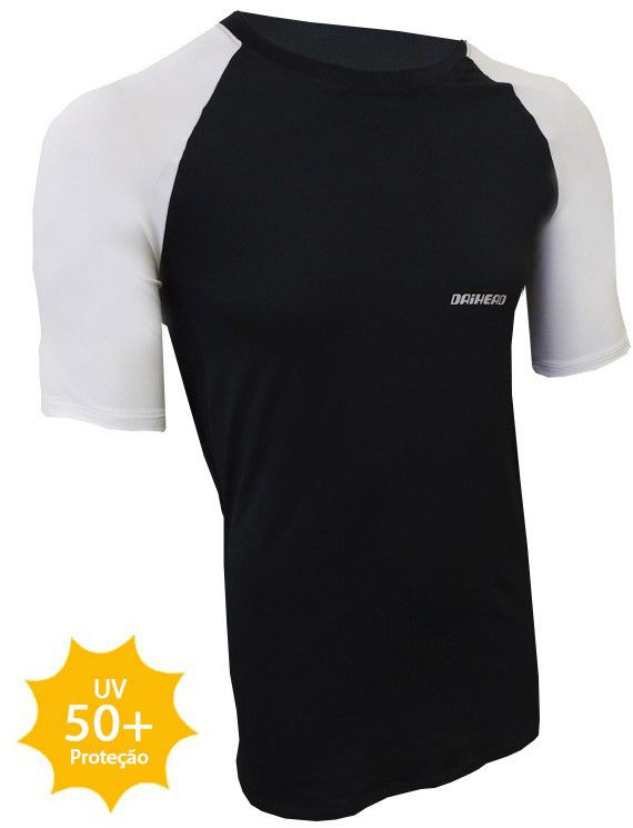 Camisa Manga Curta ThermoDry Summer UV + 50 - Preta / Branca