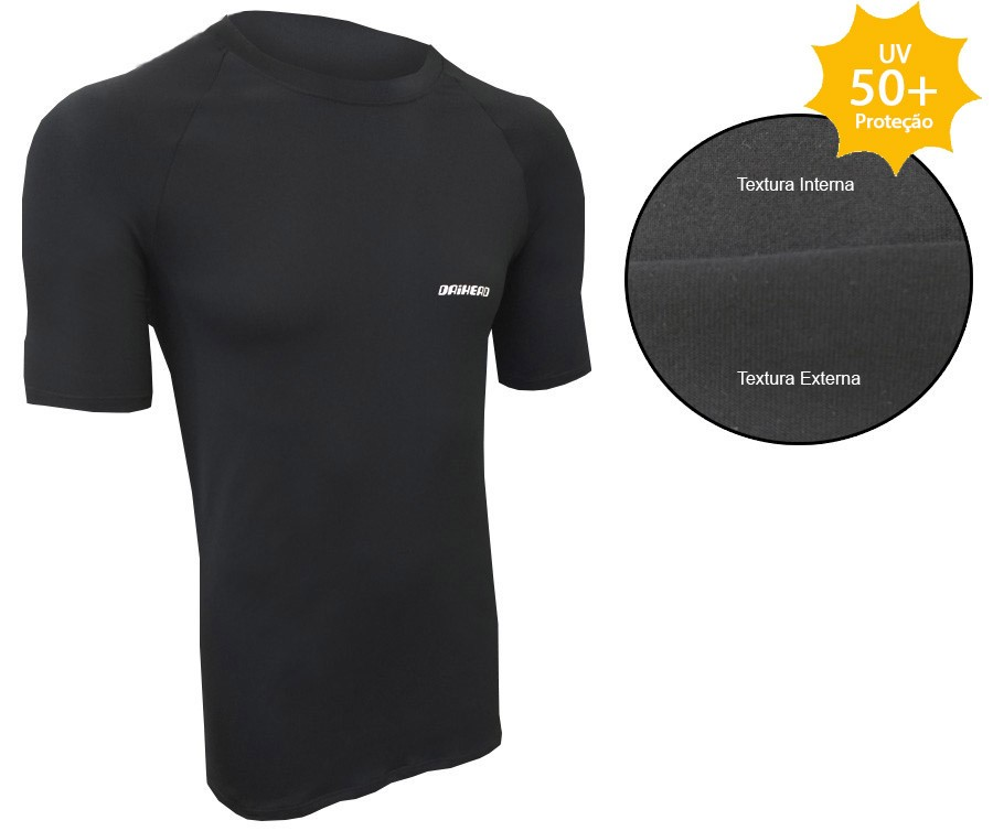 Camisa Manga Curta ThermoDry Summer UV + 50 - Preta  - Ditesta & Daihead - Moto Store