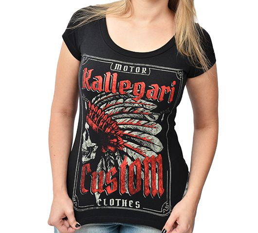 Camiseta Babylook Kallegari Indian Skull  - Ditesta & Daihead - Moto Store