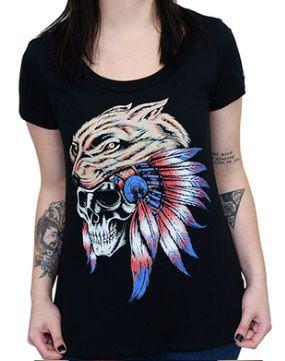 Camiseta Babylook Kallegari Indian Wolf  - Ditesta & Daihead - Moto Store
