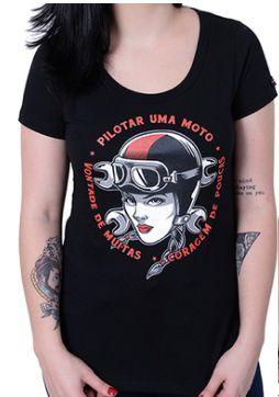 Camiseta Babylook Kallegari Pilotar Uma Moto  - Ditesta & Daihead - Moto Store