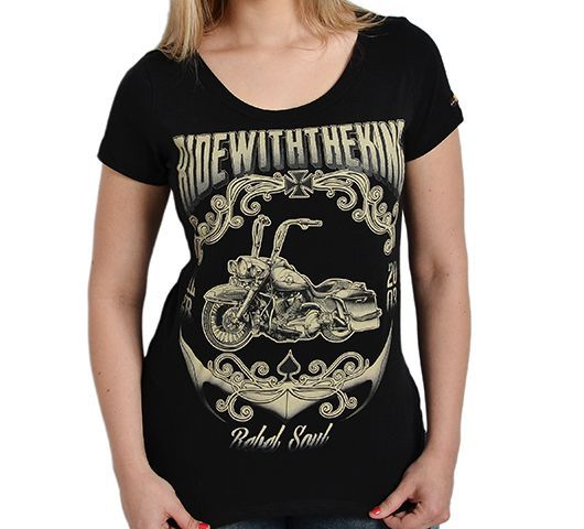 Camiseta Babylook Kallegari Ride With The King  - Ditesta & Daihead - Moto Store