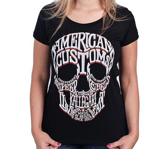 Camiseta Babylook Kallegari Word Skull  - Ditesta & Daihead - Moto Store