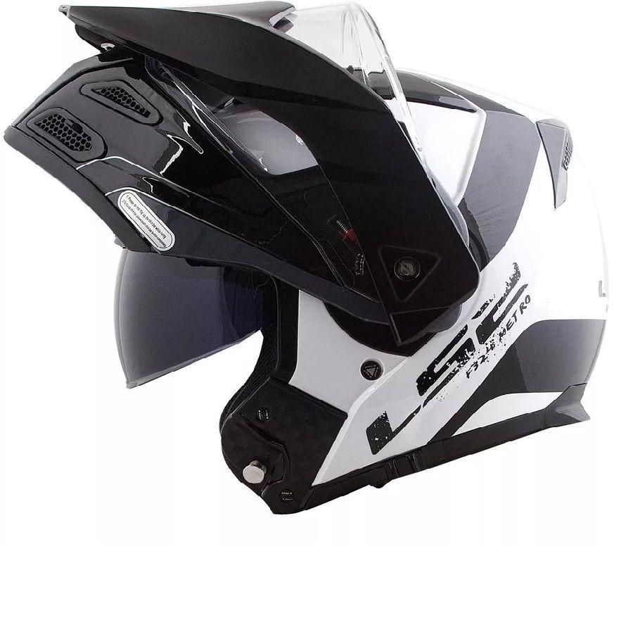 Capacete Articulado Ls2 Ff324 Metro Evo Rapid Branco Preto  - Ditesta & Daihead - Moto Store