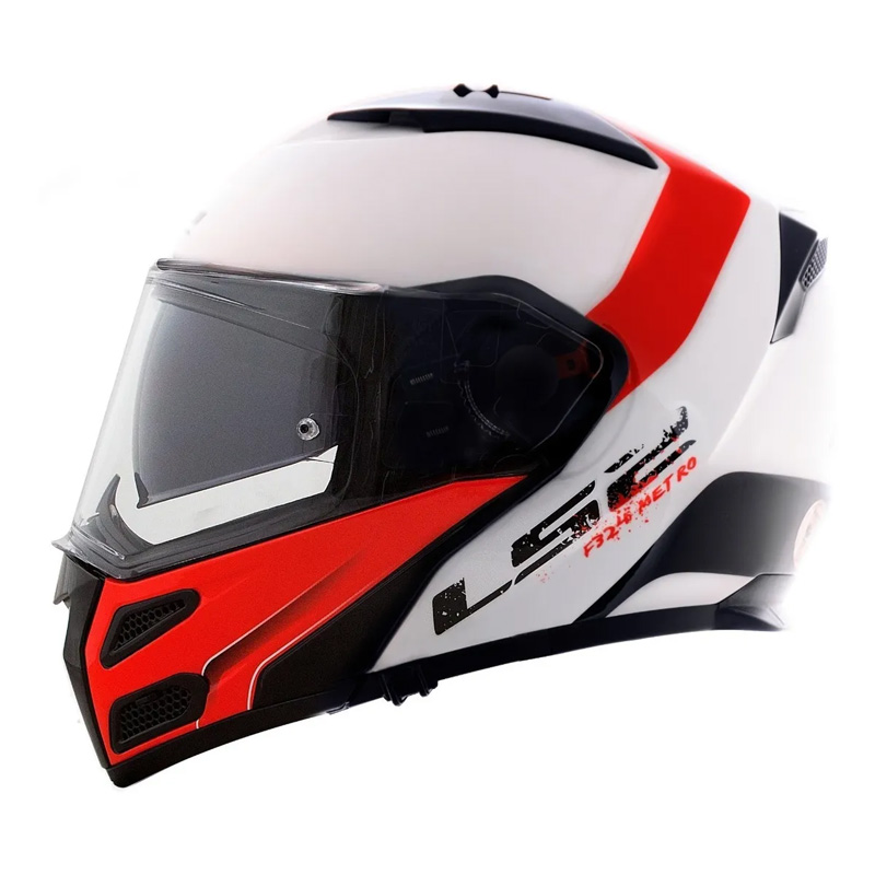 Capacete Articulado Ls2 Metro Evo Ff324 Rapid Preto e Vermelho e Branco  - Ditesta & Daihead - Moto Store