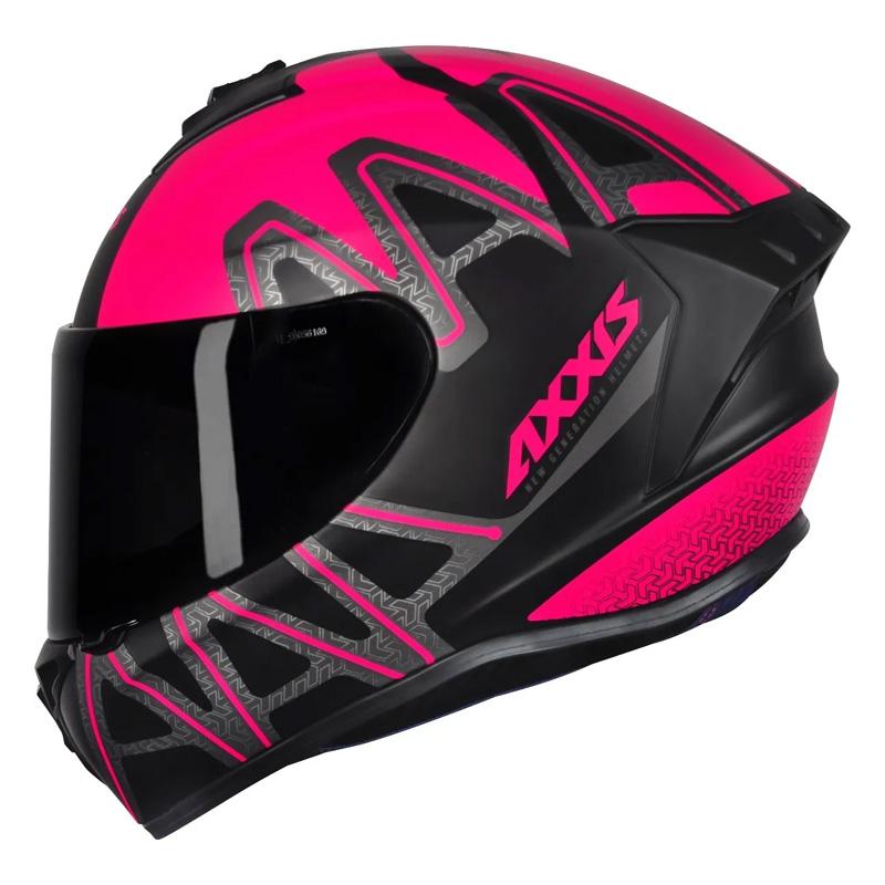 Capacete Axxis Draken Dekers Preto e Rosa  - Ditesta & Daihead - Moto Store