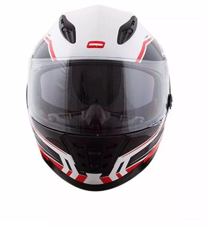 Capacete Branco Vermelho Norisk Ff302 Target  - Ditesta & Daihead - Moto Store