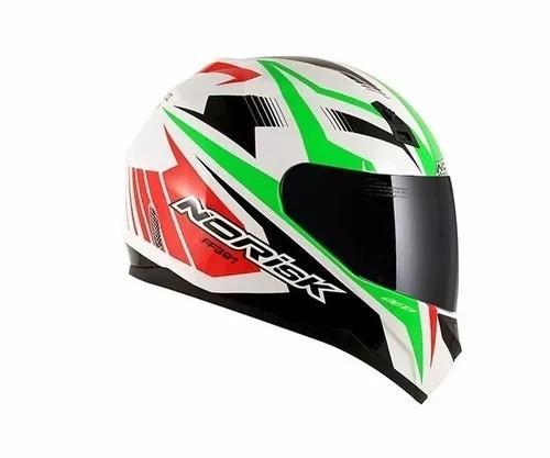 Capacete Norisk Ff391 Slide White / Red / Green  - Ditesta & Daihead - Moto Store