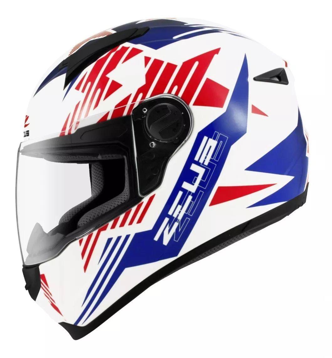 Capacete Zeus 811 Evo Top Gun Solid White Al28 Blue  - Ditesta & Daihead - Moto Store