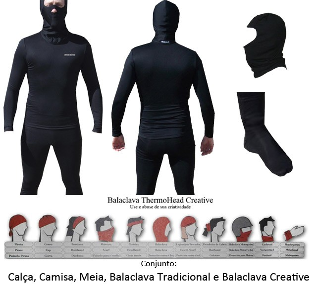 Kit  Segunda Pele Thermohead Extreme Cold ( Calça, Camisa, Meia, Duas Balaclava) - Unissex  - Ditesta & Daihead - Moto Store