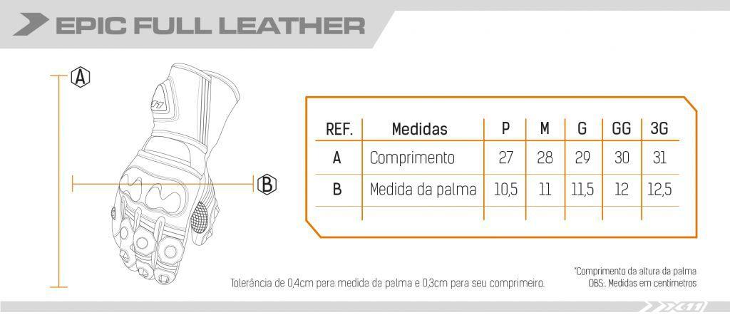 Luva Epic Full Couro Longa X11  - Ditesta & Daihead - Moto Store