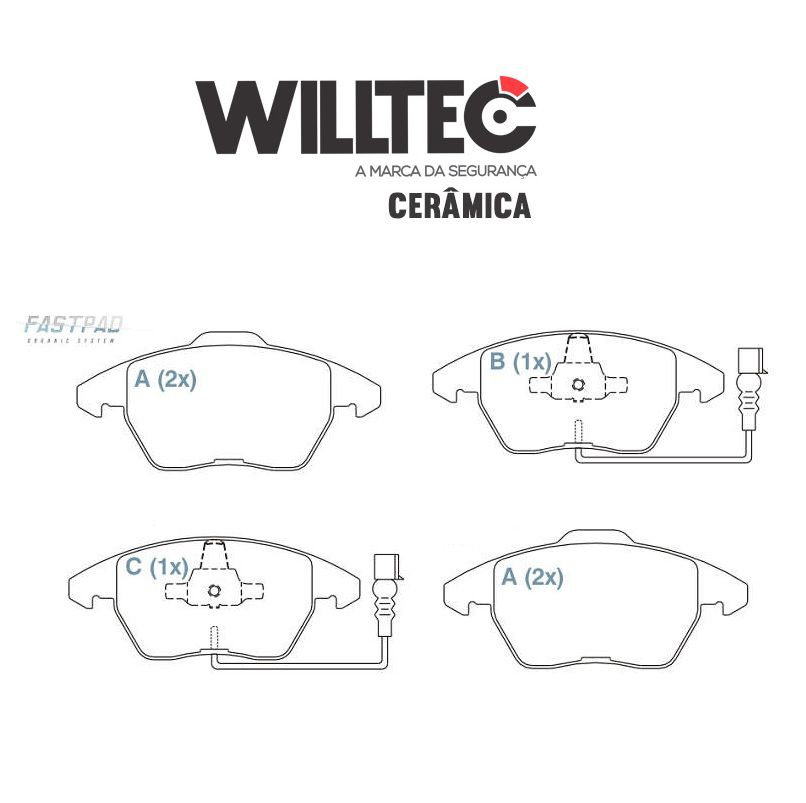 Pastilha Freio Dianteira Cerâmica C4 Lounge 307 3008 - Jogo Willtec
