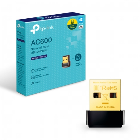 Adaptador USB Wireless TP-Link Archer T2U Nano, Dual Band (5GHz/2.4GHz), AC600