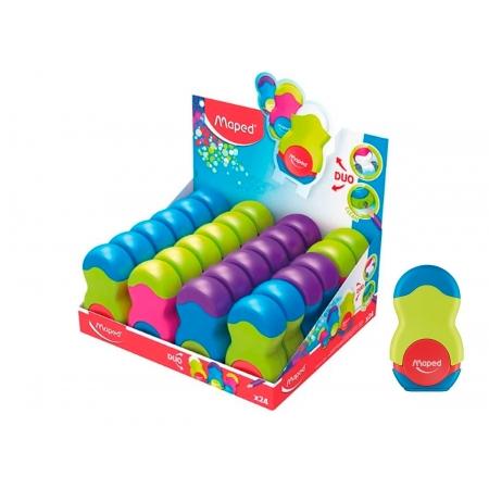 Apontador Com Borracha Loopy Multicolorido, Display C/ 24 Unidades - Maped - 49121