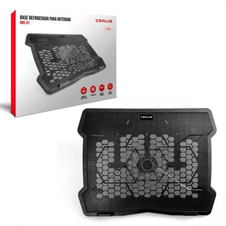 """Base para Notebook C3Plus NBC-01BK, 10"""" até 14"""", Cooler de 140 mm, Preto"""