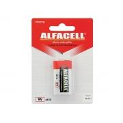 Bateria Comum 9V, Cartela Com 1 Pilha Alfacell - 6F221B
