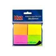 Bloco de Recado 38 x 50 mm Com 100 Folhas Cores Neon Caixa Com 12 Unidades Kaz - 700440