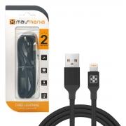 Cabo USB Lightning 8P Mais Mania 536, USB 2.0, Malha de Nylon, 2,0A, 2m