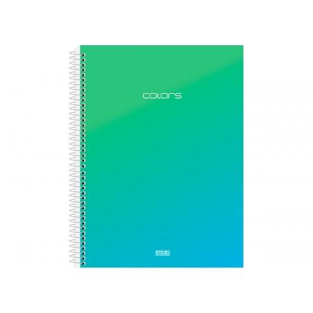 Caderno Espiral C.D. Colors Azul 10x1, 200 Fls. Pct. c/ 4 Un. - São Domingos - 3759