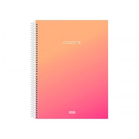 Caderno Espiral C.D. Colors Pink 10x1, 200 Fls. Pct. c/ 4 Un. - São Domingos - 3756