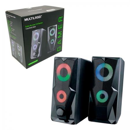Caixa de Som Gamer Multilaser SP330, USB + P2 (3.5mm), 15W RMS, LED RGB, 2.0 Estéreo