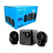 Caixa de Som Multilaser SP166, 2.1 Canais, Subwoofer, 15W RMS, USB, Preto e Grafite