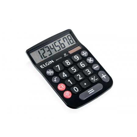 Calculadora de Mesa MV-4133, 8 Dígitos Grandes e Célula Solar, Elgin - Preta - 42MV41330000