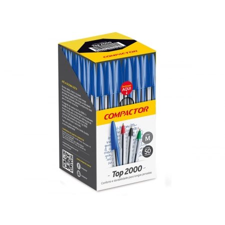 Caneta Esferográfica Top 2000, Caixa C/ 50 Unidades, Compactor - Preta