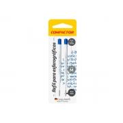 Carga p/ Caneta Esferográfica 1005 Plastica (2 Cargas) Azul Cx. c/10 - Compactor