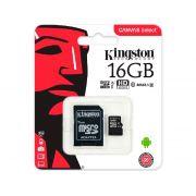 Cartao de Memoria Micro SD 16GB Kingston C/Adaptador Classe 10 SDCS/16GB