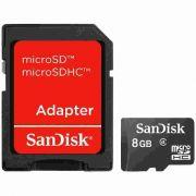 Cartão de Memória Micro SD 8GB Sandisk com Adaptador