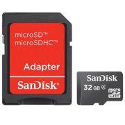 Cartão de Memória Micro SD SanDisk SDSDQM-032G-B35A 32GB com Adaptador