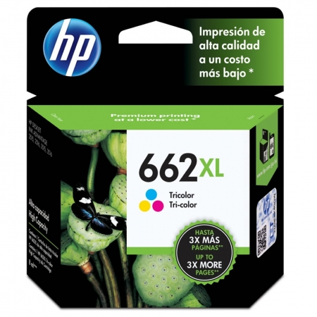 Cartucho de Tinta HP  662XL Tricolor - Alto Rendimento - CZ106AB