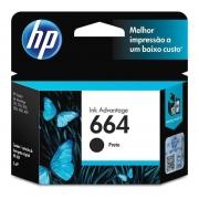 Cartucho de Tinta HP 664, Preto, Original 2ml - F6V29AB