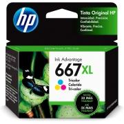 Cartucho de Tinta HP 667XL Colorido - 3YM80AL