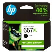 Cartucho de Tinta HP 667XL, Preto - 3YM81AB