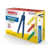 Compasso Escolar de Plástico, Contém 12 Unidades, Waleu - 10040003
