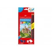 Ecolápis de Cor 12 Cores Kit Escolar, Pacote C/ 6 Unidades, Faber Castell - 120112+2N