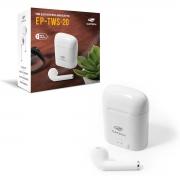 Fone de Ouvido C3Tech EP-TWS-20WH, Bluetooth 5.0, Intra Auricular, TWS, Branco