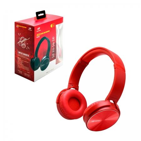 Fone de Ouvido C3Tech PH-110RD, C/ Microfone, Dobrável, Vermelho
