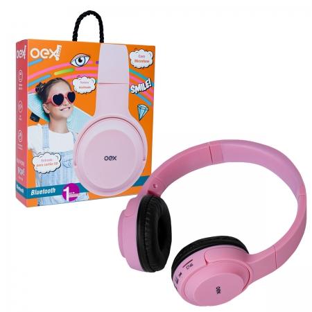 Fone de Ouvido Infantil OEX POP HS314, Bluetooth (Versão 5.0), Rosa