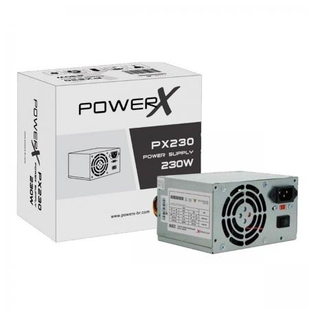 Fonte Alimentação ATX PowerX PX230 230W Real C/ Cabo + Caixa